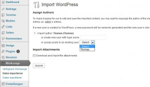 Wordpress Datenimport