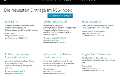 Webportal rss-index.de um RSS Feeds kostenlos einzutragen